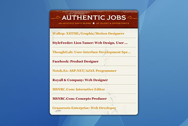 Authentic Jobs Dashboard widget