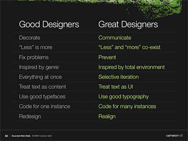 Slide from presentation showing 9 skills that separate good and great designers