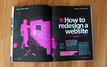 .net magazine showing 'How to redesign a website'