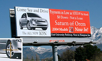 Saturn car billboard
