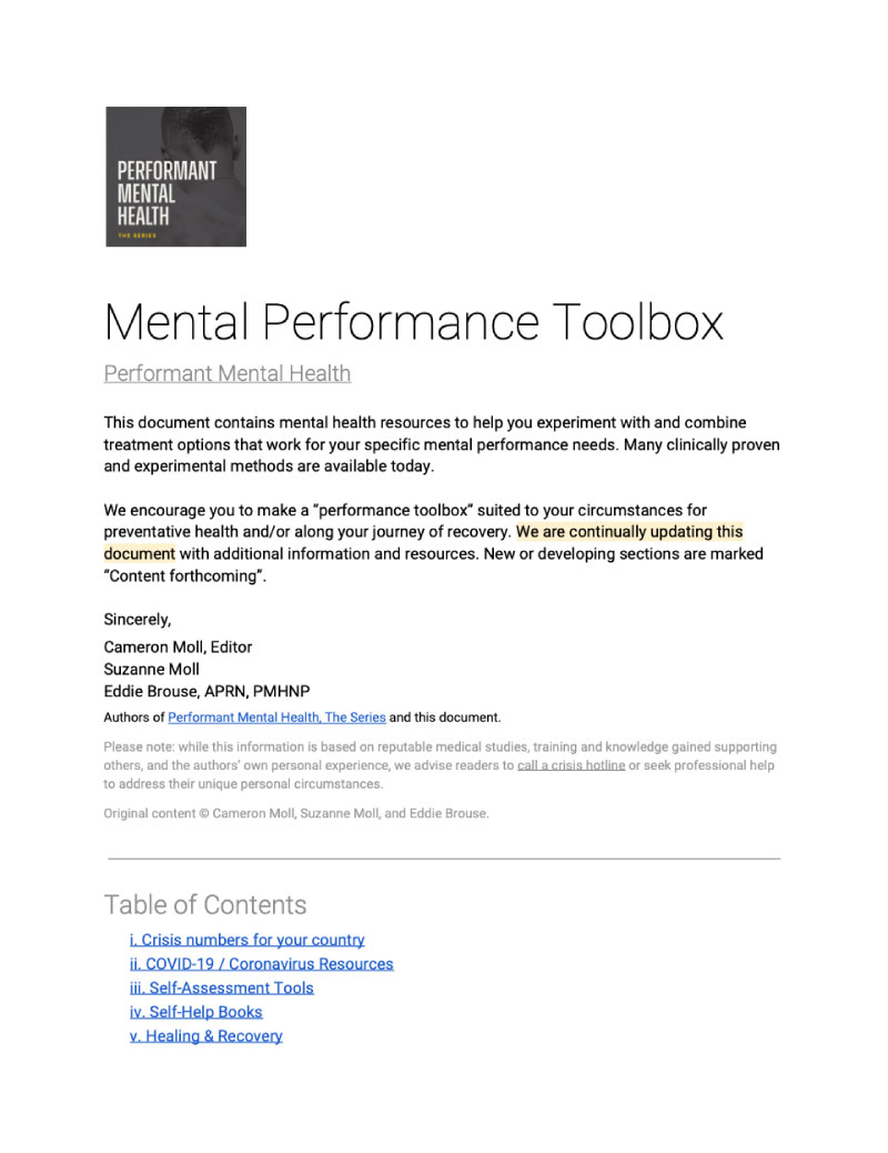 Mental Performance Toolbox, a shared Google doc containing many resources on mental health