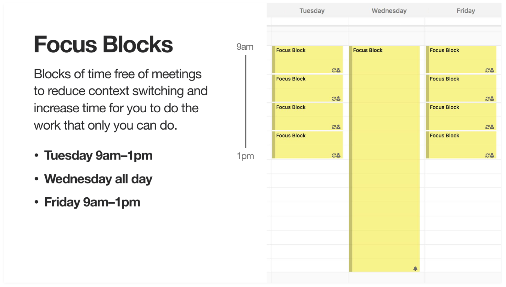 Screenshot showing focus block times 9am to 1pm on Tuesdays and Fridays, all day Wednesdays